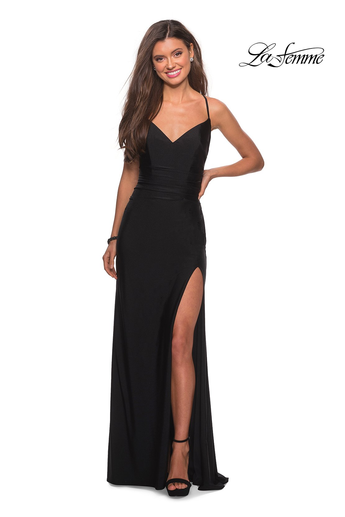 La Femme 28206 prom dress images.  La Femme 28206 is available in these colors: Black, Burgundy, Nude.
