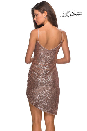 La Femme 28227 prom dress images.  La Femme 28227 is available in these colors: Rose Gold.
