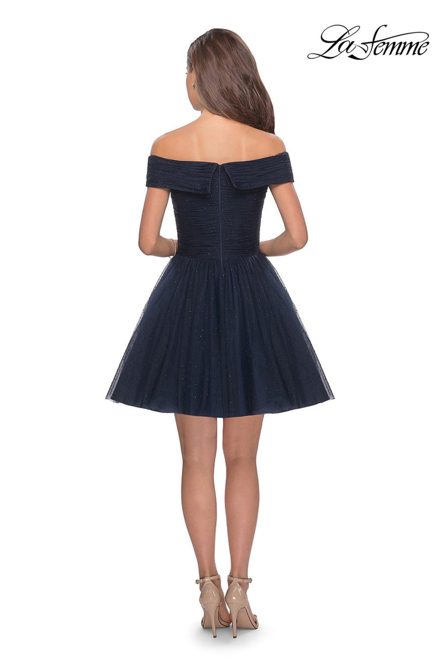 La Femme 28234 prom dress images.  La Femme 28234 is available in these colors: Navy.
