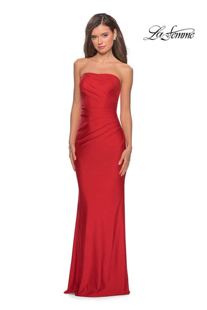 La Femme 28269 prom dress images.  La Femme 28269 is available in these colors: Dark Berry, Mauve, Red, Royal Blue.