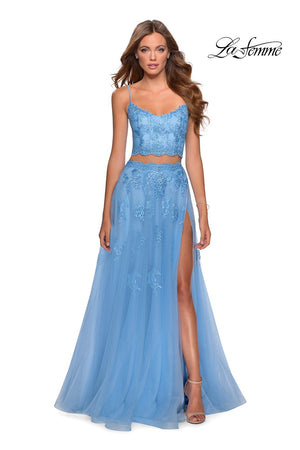 La Femme 28271 prom dress images.  La Femme 28271 is available in these colors: Cloud Blue, Mauve, Pale Yellow, White Nude.