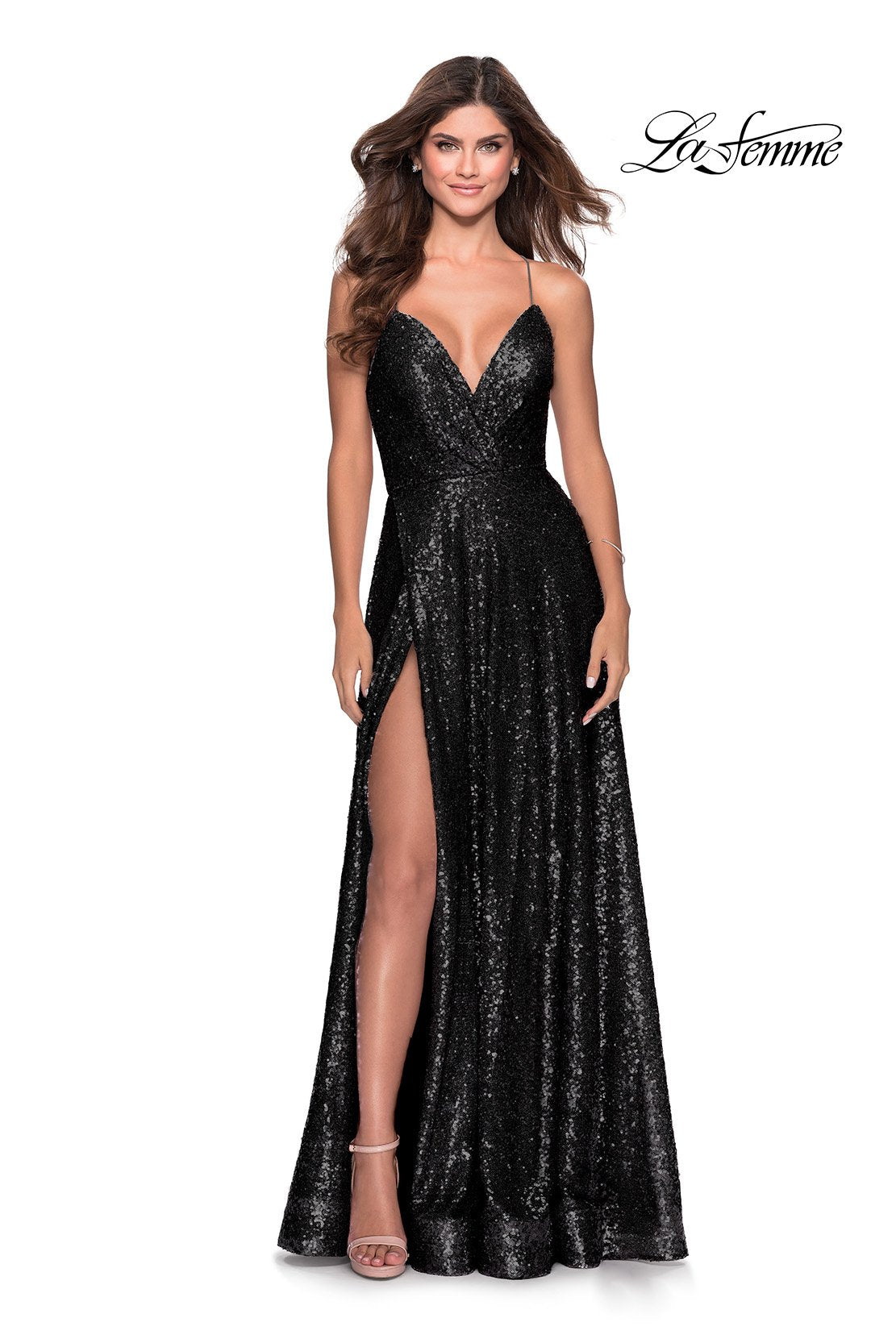 La Femme 28276 prom dress images.  La Femme 28276 is available in these colors: Black, Lavender Gray, Mint, Navy, Rose Gold.