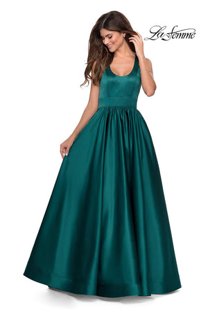 La Femme 28281 prom dress images.  La Femme 28281 is available in these colors: Black, Deep Red, Emerald, Sapphire Blue, White.