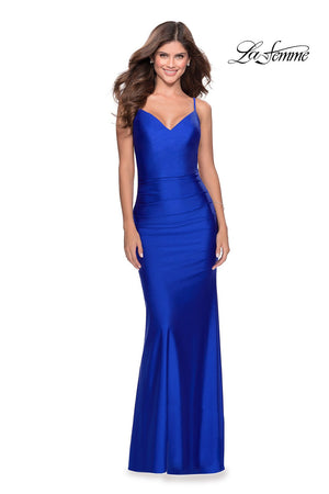 La Femme 28287 prom dress images.  La Femme 28287 is available in these colors: Black, Hot Pink, Neon Yellow, Royal Blue.