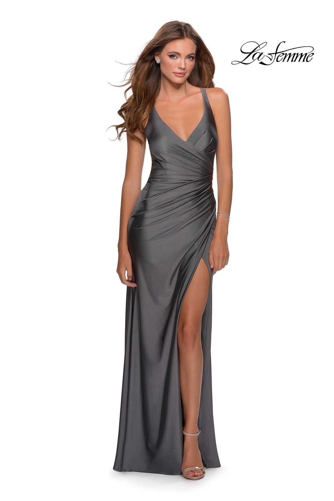 La Femme 28289 prom dress images.  La Femme 28289 is available in these colors: Black, Gunmetal, Red, Royal Blue.