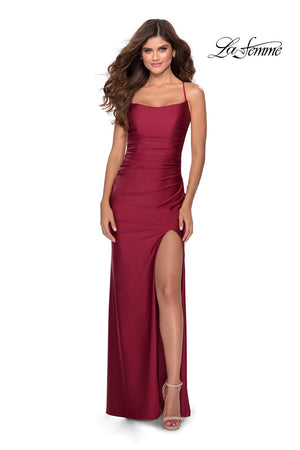 La Femme 28296 prom dress images.  La Femme 28296 is available in these colors: Burgundy, Light Periwinkle, Pale Yellow, Royal Blue, Silver, White.