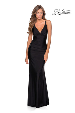 La Femme 28297 prom dress images.  La Femme 28297 is available in these colors: Black, Dark Berry, Neon Pink, Royal Blue, Yellow.