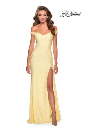 La Femme 28301 prom dress images.  La Femme 28301 is available in these colors: Black, Cloud Blue, Pale Yellow, White.