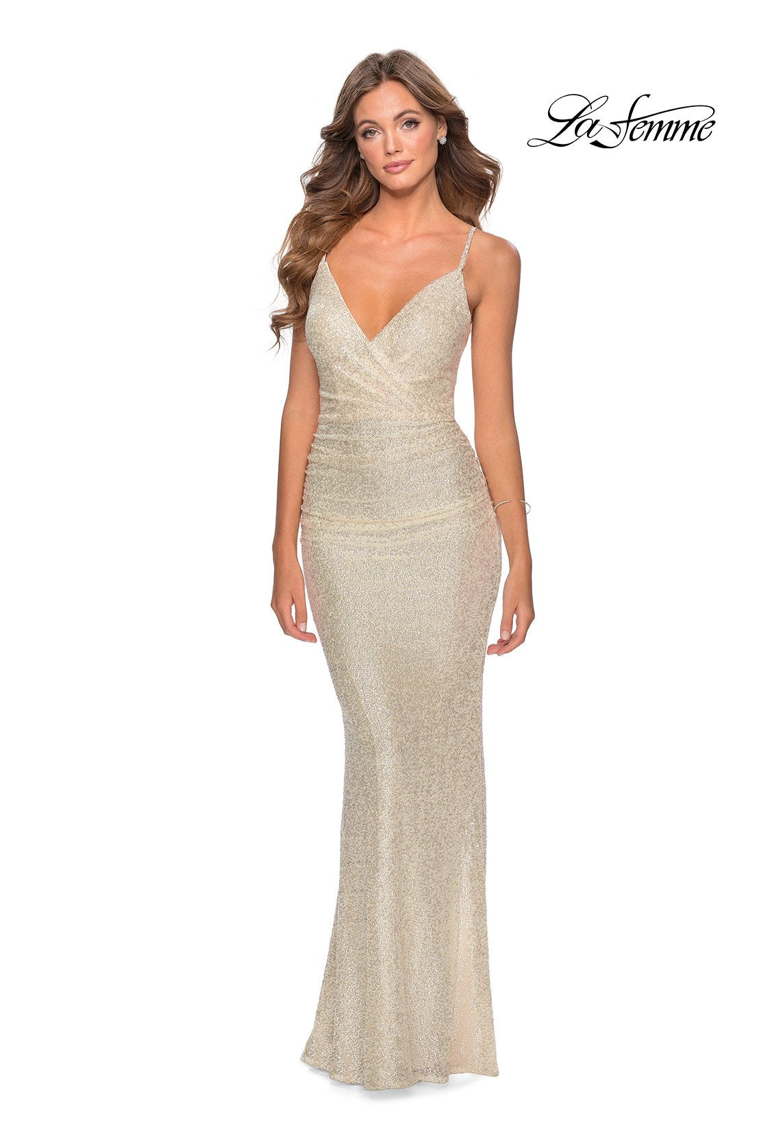 La Femme 28335 prom dress images.  La Femme 28335 is available in these colors: Champagne, Light Blue, Silver.