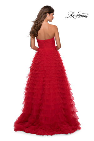 La Femme 28345 prom dress images.  La Femme 28345 is available in these colors: Black, Hot Pink, Red.