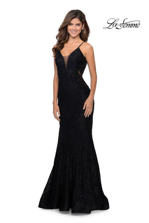 La Femme 28355 prom dress images.  La Femme 28355 is available in these colors: Black, Electric Blue, Neon Pink.