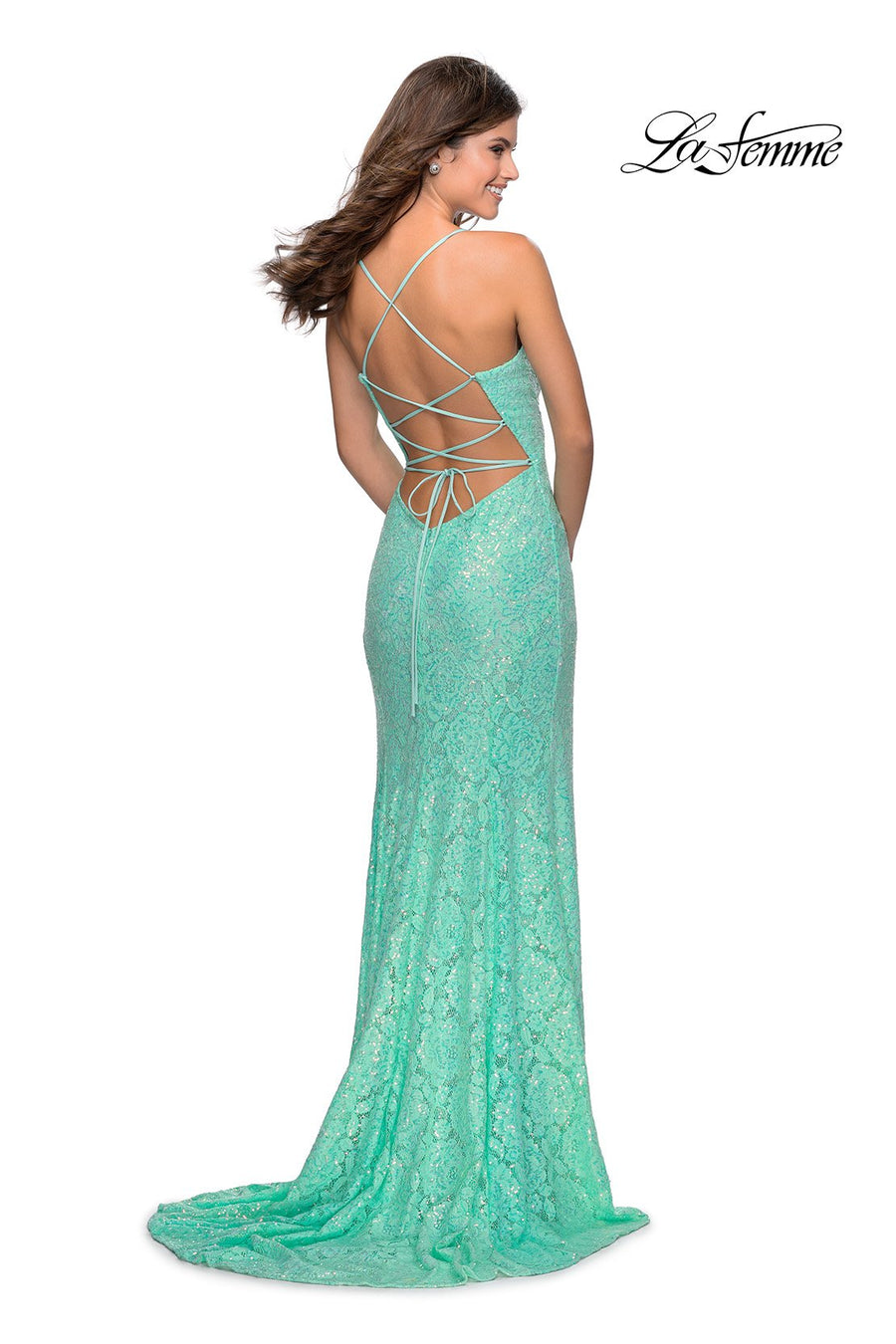 La Femme 28359 prom dress images.  La Femme 28359 is available in these colors: Cloud Blue, Mint, Pale Yellow, Peach.