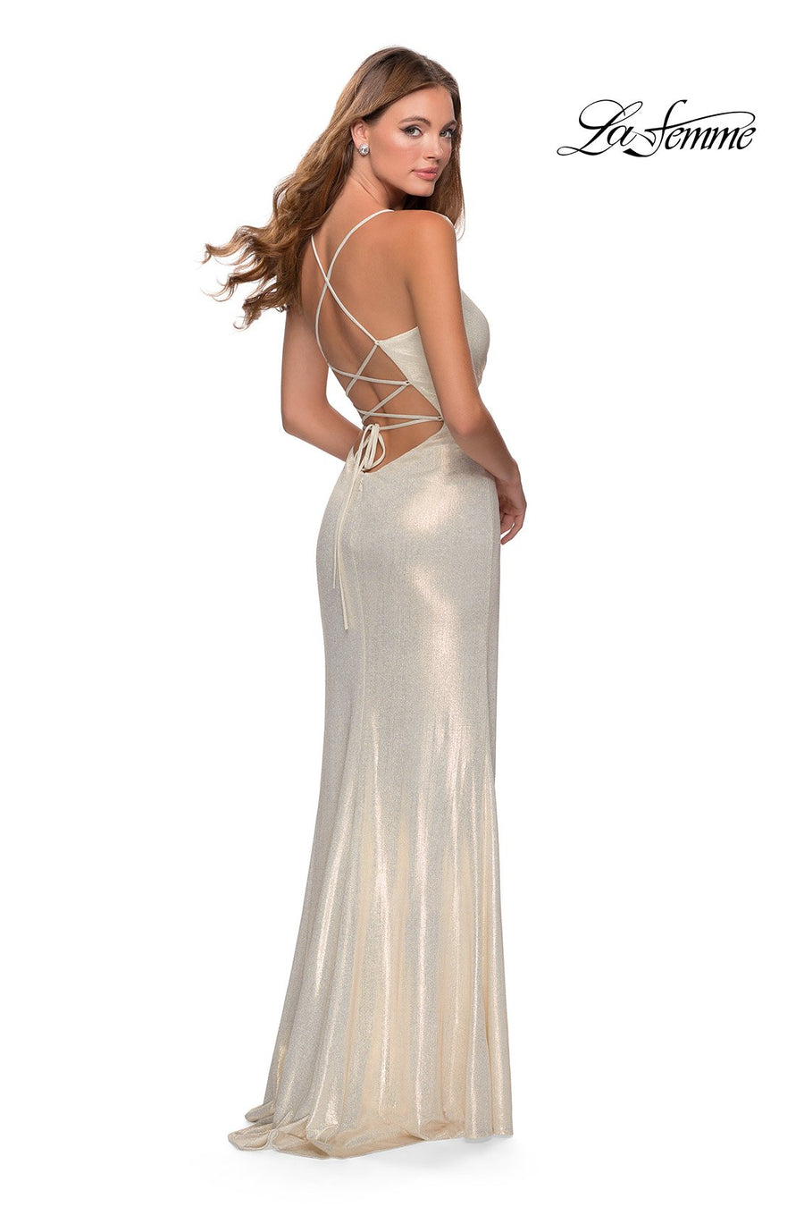 La Femme 28363 prom dress images.  La Femme 28363 is available in these colors: Marine Blue, White Gold.