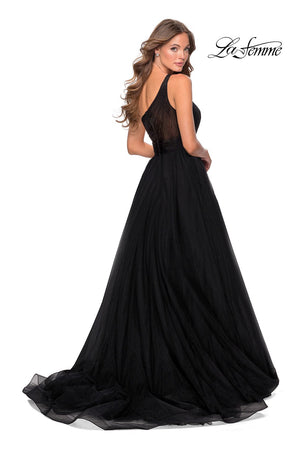La Femme 28383 prom dress images.  La Femme 28383 is available in these colors: Black.