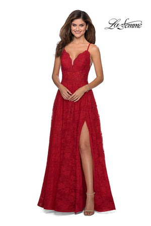 La Femme 28386 prom dress images.  La Femme 28386 is available in these colors: Cloud Blue, Dusty Lilac, Red.