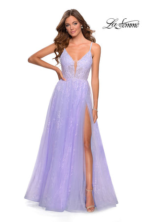 La Femme 28387 prom dress images.  La Femme 28387 is available in these colors: Lavender.