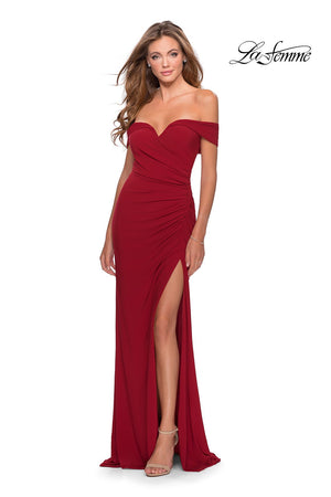 La Femme 28389 prom dress images.  La Femme 28389 is available in these colors: Black, Navy, Pale Yellow, Purple, Red.