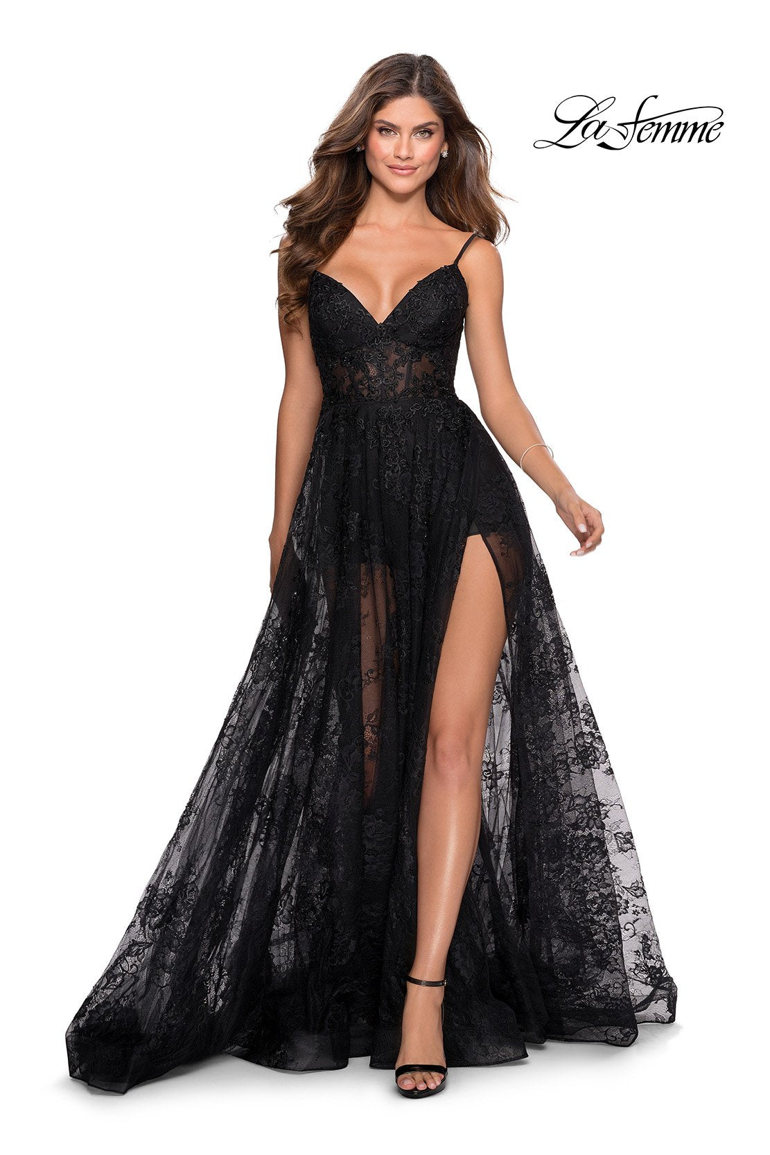 La Femme 28390 prom dress images.  La Femme 28390 is available in these colors: Black.