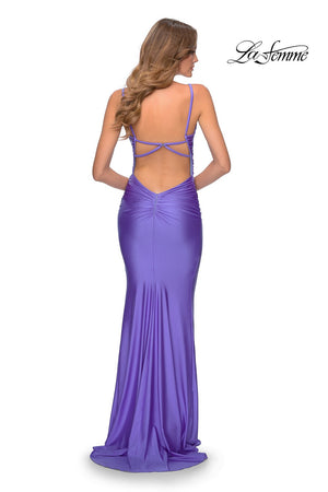 La Femme 28398 prom dress images.  La Femme 28398 is available in these colors: Hot Pink, Nude, Periwinkle, Yellow.