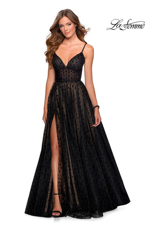 La Femme 28400 prom dress images.  La Femme 28400 is available in these colors: Black.