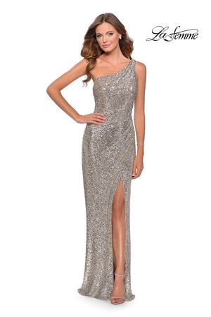 La Femme 28401 prom dress images.  La Femme 28401 is available in these colors: Black, Emerald, Lavender, Silver.