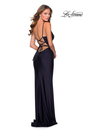La Femme 28421 prom dress images.  La Femme 28421 is available in these colors: Dark Berry, Light Copper, Navy.