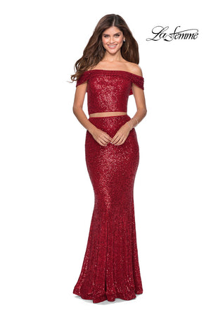 La Femme 28425 prom dress images.  La Femme 28425 is available in these colors: Emerald, Red, Royal Blue, White.