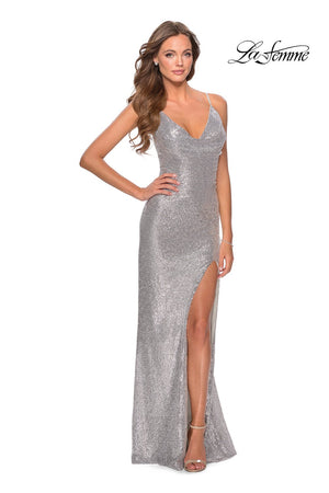 La Femme 28429 prom dress images.  La Femme 28429 is available in these colors: Mint, Peach, Silver.