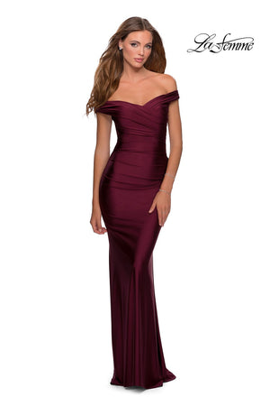 La Femme 28450 prom dress images.  La Femme 28450 is available in these colors: Dark Berry, Gunmetal, Mauve, Navy.