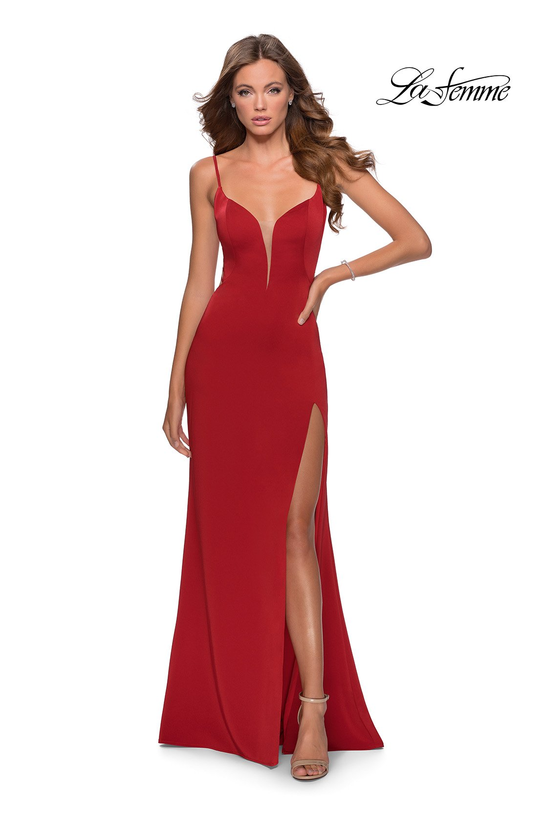 La Femme 28461 prom dress images.  La Femme 28461 is available in these colors: Black, Red, Royal Blue, Royal Purple, White.
