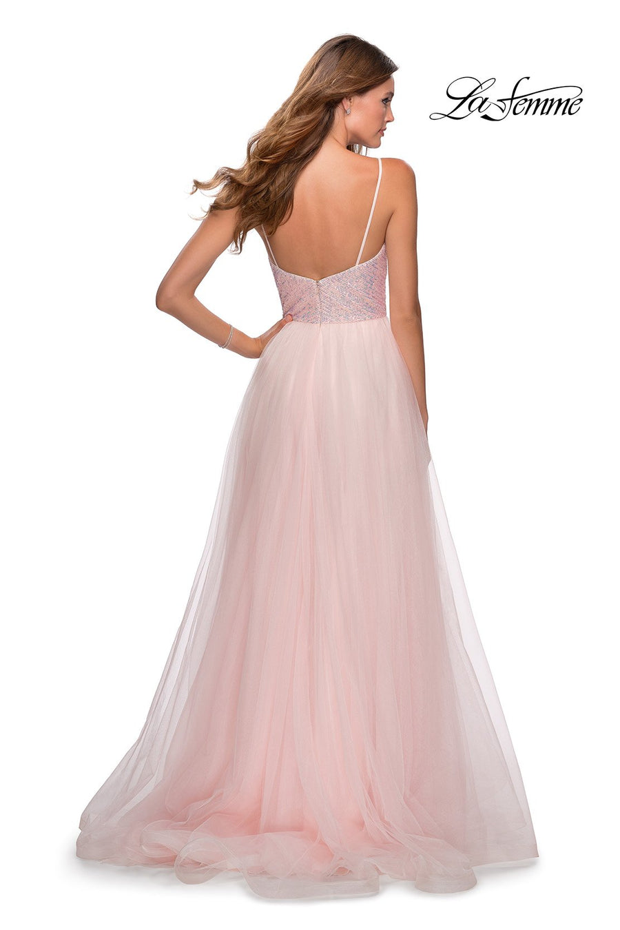 La Femme 28464 prom dress images.  La Femme 28464 is available in these colors: Light Pink.