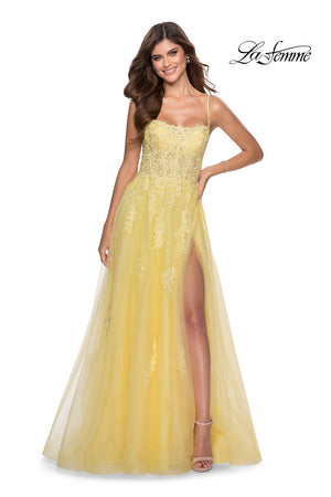 La Femme 28470 prom dress images.  La Femme 28470 is available in these colors: Dusty Mauve, Millennial Pink, Mint, Silver, Yellow.
