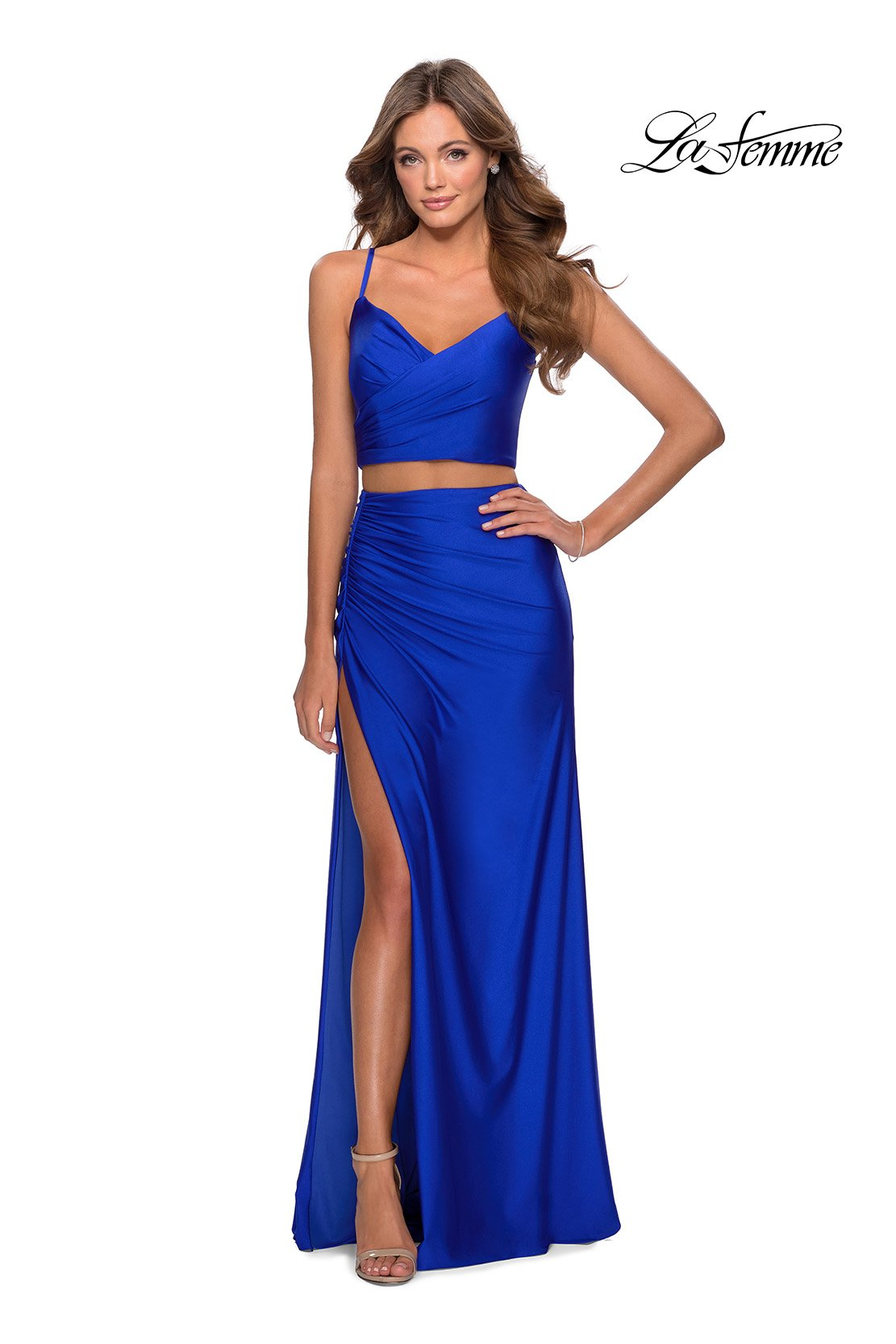 La Femme 28472 prom dress images.  La Femme 28472 is available in these colors: Neon Green, Neon Pink, Neon Yellow, Royal Blue.