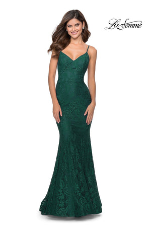 La Femme 28504 prom dress images.  La Femme 28504 is available in these colors: Dark Berry, Emerald, Navy, White Nude.