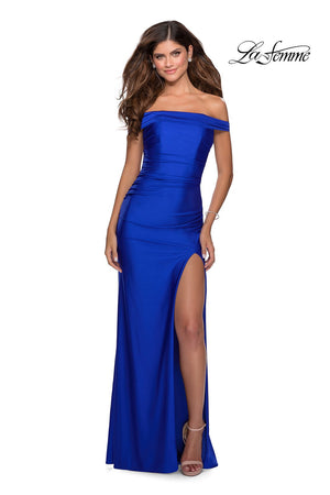 La Femme 28506 prom dress images.  La Femme 28506 is available in these colors: Black, Dark Berry, Hot Pink, Mauve, Royal Blue, Yellow.