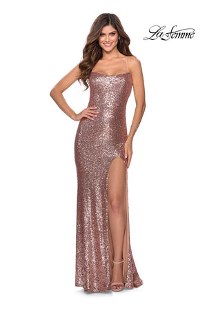 La Femme 28514 prom dress images.  La Femme 28514 is available in these colors: Emerald, Gunmetal, Lavender Gray, Navy, Red, Rose Gold.
