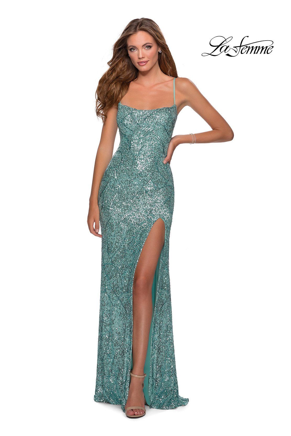 La Femme 28516 prom dress images.  La Femme 28516 is available in these colors: Mint, Rose Gold, Yellow.