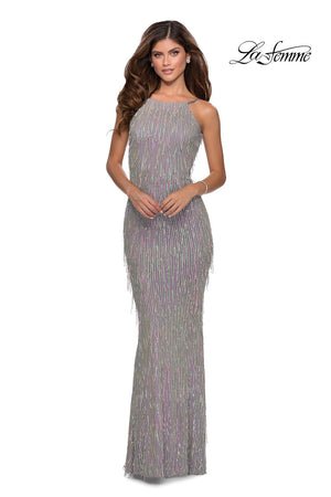 La Femme 28517 prom dress images.  La Femme 28517 is available in these colors: Silver Pink.