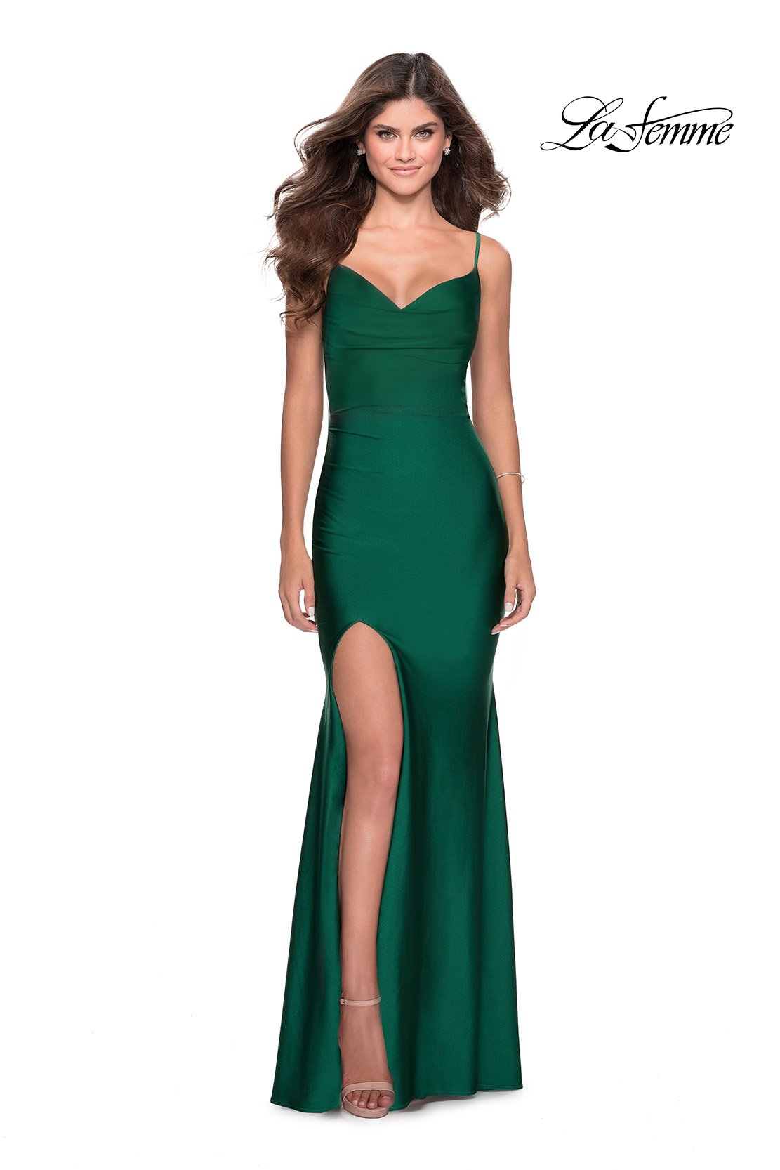 La Femme 28518 prom dress images.  La Femme 28518 is available in these colors: Black, Burgundy, Emerald, Mauve, Navy.