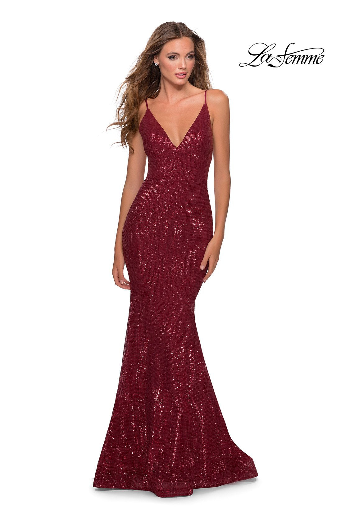La Femme 28519 prom dress images.  La Femme 28519 is available in these colors: Burgundy, Champagne, Emerald, Navy.