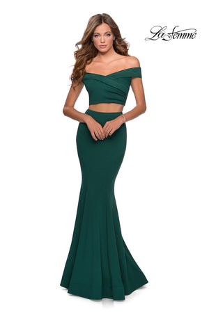 La Femme 28521 prom dress images.  La Femme 28521 is available in these colors: Black, Emerald, Navy.