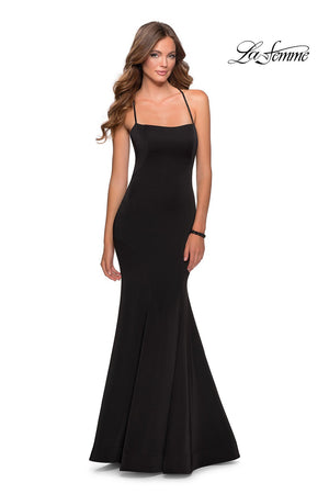 La Femme 28526 prom dress images.  La Femme 28526 is available in these colors: Black, Deep Red, Electric Blue, Peach.