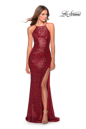La Femme 28529 prom dress images.  La Femme 28529 is available in these colors: Black, Emerald, Red, Royal Blue, Silver, White.