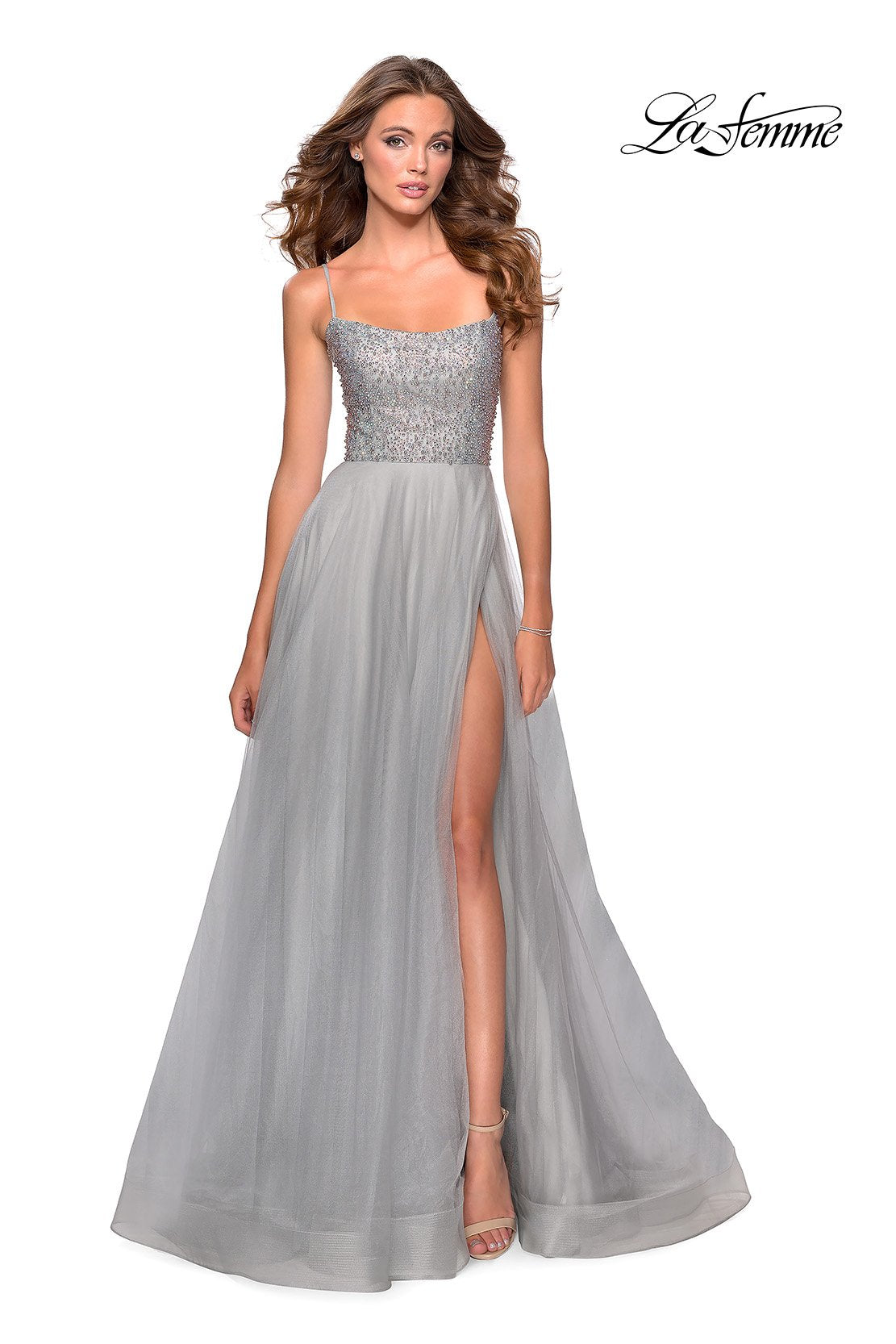La Femme 28530 prom dress images.  La Femme 28530 is available in these colors: Mauve, Nude, Pale Yellow, Silver.