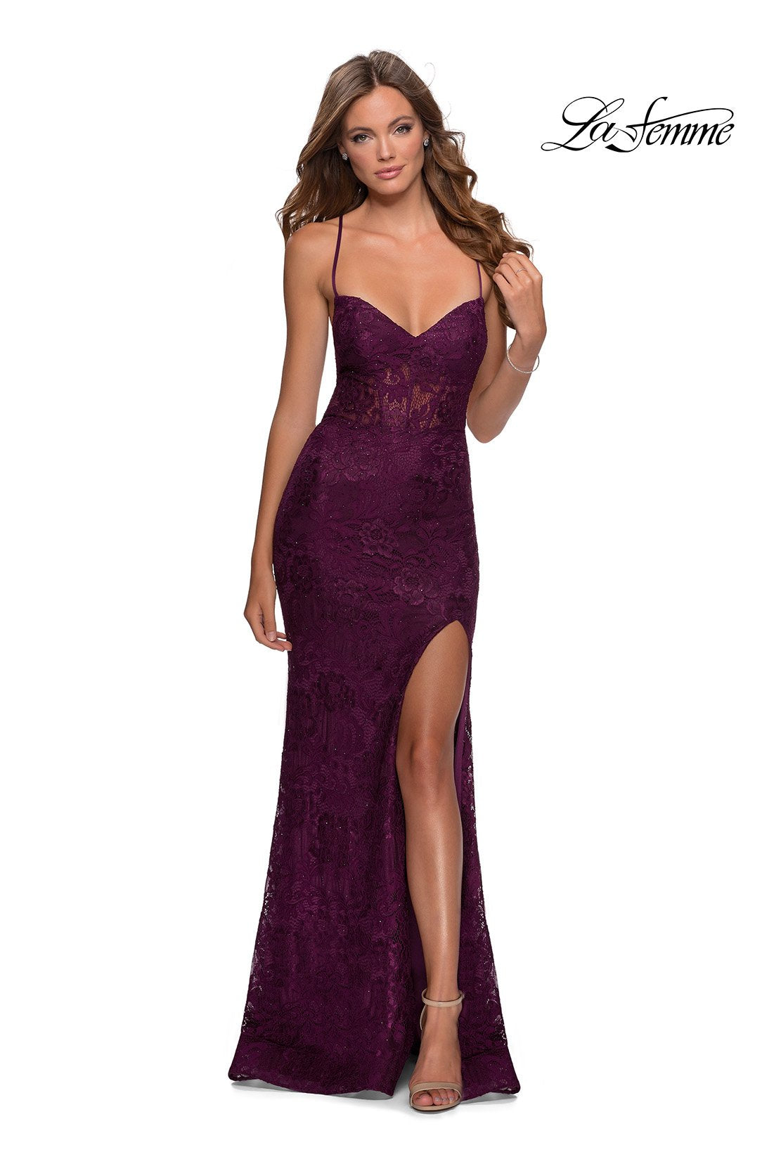 La Femme 28534 prom dress images.  La Femme 28534 is available in these colors: Dark Berry, Emerald, Navy.