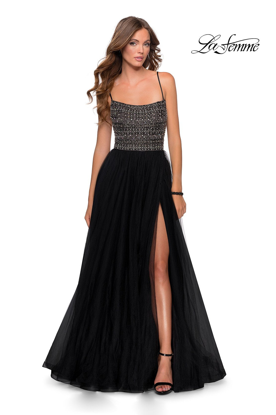 La Femme 28535 prom dress images.  La Femme 28535 is available in these colors: Black, Mauve, Silver.
