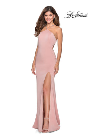 La Femme 28537 prom dress images.  La Femme 28537 is available in these colors: Aqua, Blush, Pale Yellow.