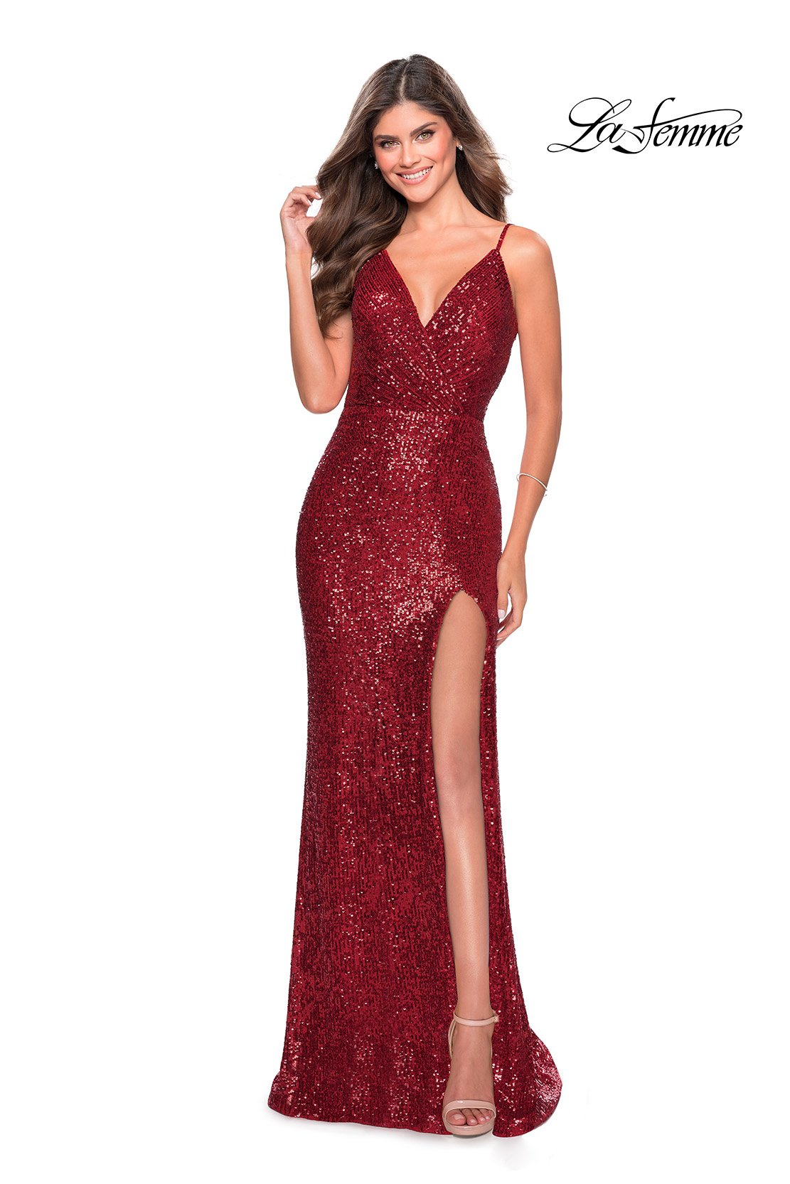 La Femme 28539 prom dress images.  La Femme 28539 is available in these colors: Champagne, Emerald, Red, Royal Blue.