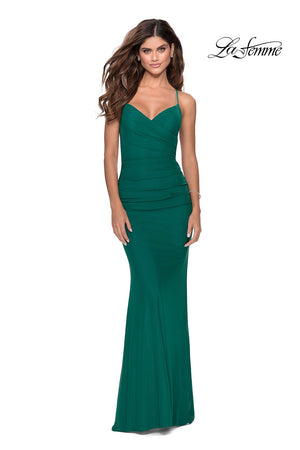 La Femme 28541 prom dress images.  La Femme 28541 is available in these colors: Burgundy, Emerald, Navy, Pale Yellow.