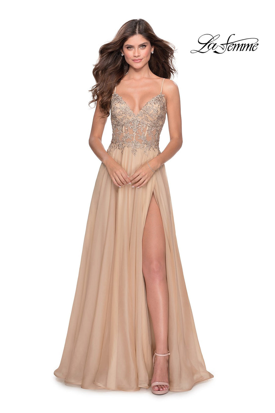 La Femme 28543 prom dress images.  La Femme 28543 is available in these colors: Cloud Blue, Garnet, Nude.